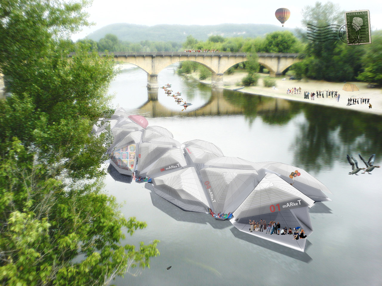 Travelling configuration: the modules closed and packed in a boat shape able to travel along rivers following the flow.