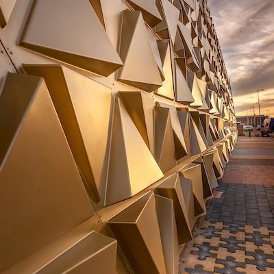 Liong Lie architects Gold Souk detail golden facade and paving