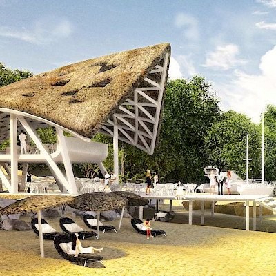 Liong Lie architects Dar es Salaam Yacht Club exterior beach visitors