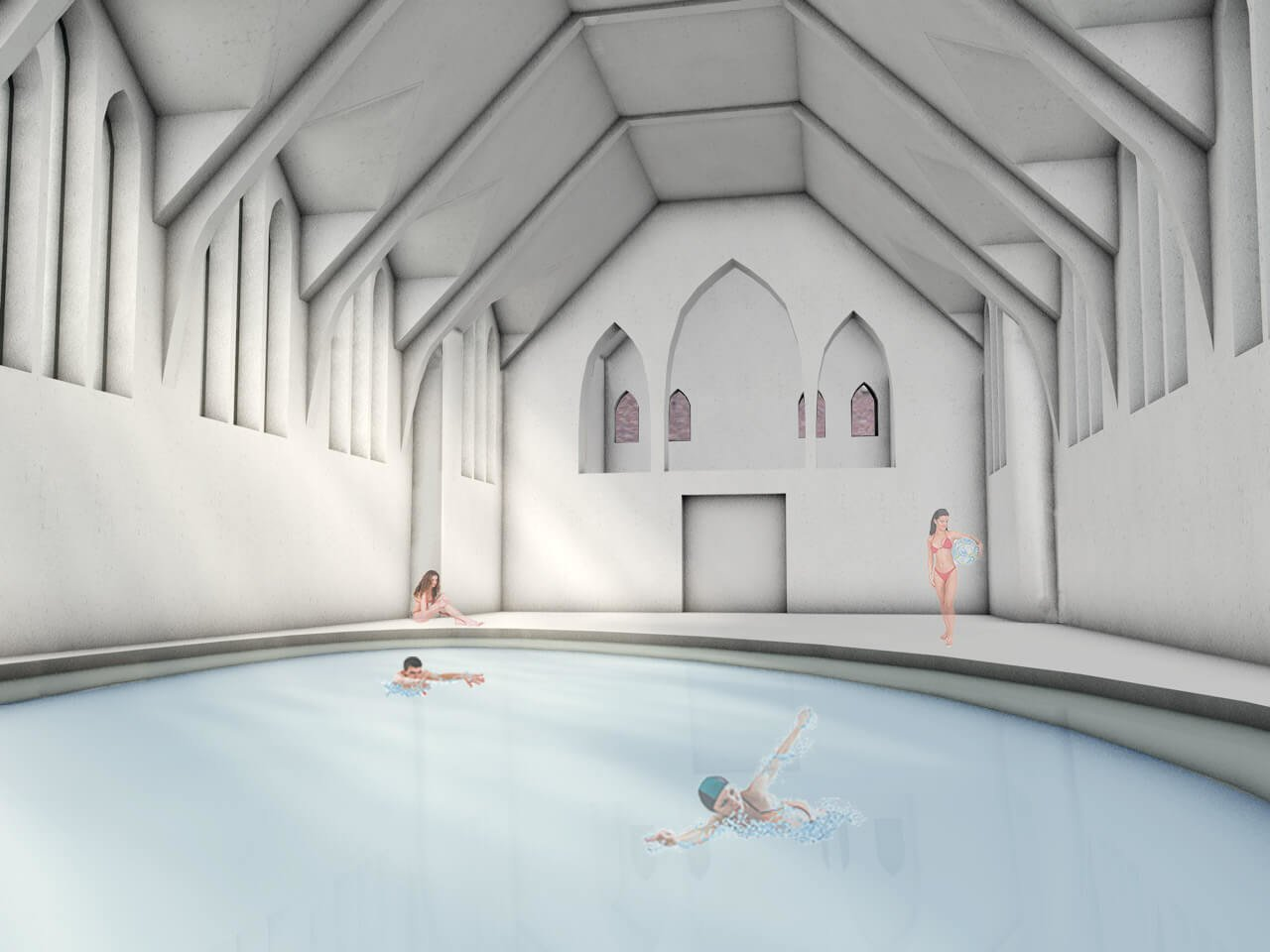 swimming pool inside chapel